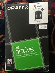 Craft Mens Be Active Crew Neck Long Sleeve Base Layer Black Size medium