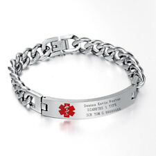Men Medical Alert ID Chain Bracelet Wristband DIY Free Engraving Stainless Steel