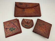 Set 4 Hand Laced Tooled Painted Leather Clutch Bifold & Coin Wallet