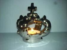 Teelichthalter Krone Kreuz silber glänzend Keramik NEU