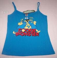 Sesame Street Cookie Monster Ladies Blue Printed Singlet Top Size 14 New