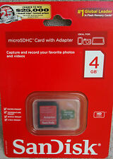 SanDisk MicroSDHC Card With Adapter 4GB ~ *NEW*