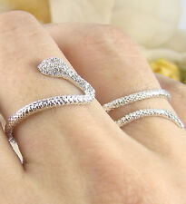 Women's Snake Ring Wraps Two Fingers Crystal White Silver Plated Size Adjustable