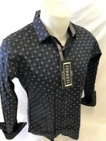 Mens FERRETI By BARABAS Designer Dress Shirt UNTUCK BLACK GEOMETRIC SLIM FIT 313