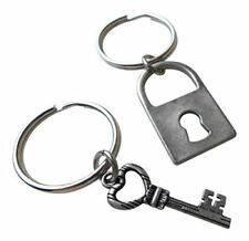 Antique Silver Key and Lock Keychain Set - You've Got The Key To My Heart