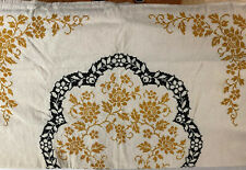 "Vintage Antique Homespun Beautiful Unbleached Linen Flax Pattern Tablecloth 60"""