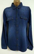NEW Size 8-16 Blue Denim Pure Cotton Double Pocket Long Sleeve Shirt