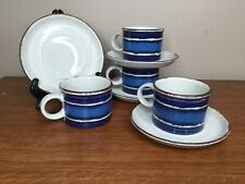 "Midwinter - Stonehenge - Cups & Saucers - FOUR 4 - Moon Blue - 6 1/4"" - England"