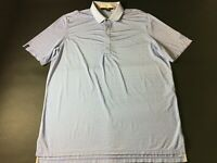 RLX Ralph Lauren Mens Blue White Striped Short Sleeve Polo Shirt Size XL