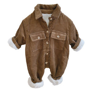 Baby Boys Bodysuit Turndown Collar Romper Corduroy Cargo Long Sleeve Catsuit