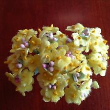 Vintage Millinery Flowers Forget Me Not Yellow Velvet for Hat Doll + Hair YV1