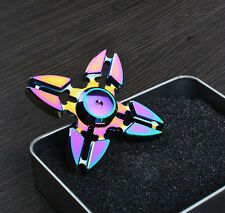 New Metal Aluminum Shuriken Color Rainbow Tri Hand Finger Spinner Fidget EDC Toy