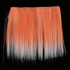 25cm DIY Girl Doll Wig Long Straight Hair High Temperature Wire Orange Red