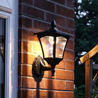 Solar Power Outdoor LED Security Wall Lantern Light | Garden Black Welcome