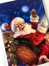 Santa Claus on Sleigh Starry Night 10 Boxed Christmas Greeting Cards Leanin Tree