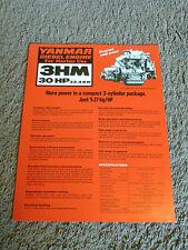 Yanmar Marine Diesel Engine 3HM 30 HP Dealer Sales Brochure Sheet Specifications