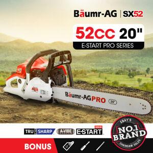BAUMR-AG 52cc Petrol Commercial Chainsaw 20  Bar E-Start Chain Saw