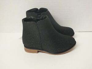Cat & Jack Toddler Girls' Sparkle Fashion Ankle Booties -Black Glitter Size 7