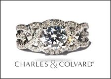 Charles and Colvard Moissanite Solid 14k White Gold Engagement Ring