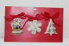 Lenox Set Of 3 Christmas Metal Ornaments New In Pkg