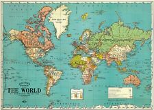 Retro Parchment Map of the World (World Map) (18 inch by 27 inch)