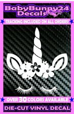 Unicorn face eyelashes horn flower Truck Laptop Heart Car Decal Vinyl Sticker