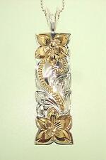 12MM 2-TONE YELLOW GOLD PLATED 925 SILVER HAWAIIAN HERITAGE SCROLLS BAR PENDANT