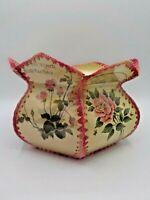 Vintage Hand Made Greeting Card & Crocheted Basket Roses Floral Folk Art Bowl