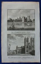 Original antique print LONDON, LAMBETH PALACE, WESTMINSTER ABBEY, BOSWELL, 1786