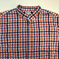 Old Navy Classic Shirt Mens 2XL Orange Blue White Pink Short Sleeve Slim Fit
