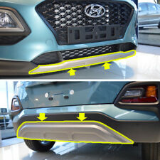 Front Rear Bumper Skid Plate Silver 2p For 2018 Hyundai Kona