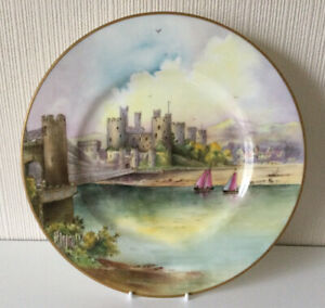 Rare Vintage Minton Cabinet Plate Conwy Castle Hand painted By J Shaw