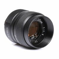 Television TV Lens/CCTV Lens for C Mount Camera 25mm F1.4 in Black