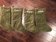 New Pottery Barn Channel Quilted Velvet Green Medium Stocking Set 4 Read*
