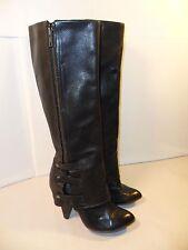 VINTAGE Women's Harper UNIQUE Zip Boots Knee High Heels Black Leather 37 EU 6 US