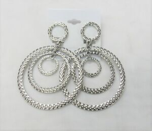Silver Plated Large Round Dangle Drop CLIP ON Fashion Earrings  # 023 Clip-ons