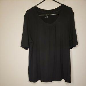 Apt. 9 Essentials Women's Blouse Top Size 2X Plus Size Solid Black Ruching