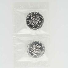 1999 $5 Canada Silver Maple Leaf Coin - 1 OZ 9999 Fine Silver Lot 2 Elizabeth II
