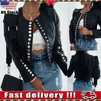 Womens Ladies Faux Leather Jacket Button Biker Jacket Blazer Coat Tops Outwear