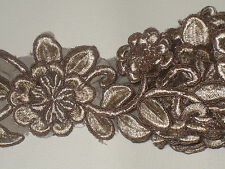 """2 yards in 2 3/4"""" width in brown color poly, thread and organza  floral trim"""