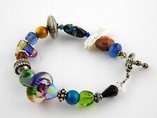 Handmade Art Glass Bracelet Pearl Goldstone Dichroic Rainbow Mix 7.75 In Length