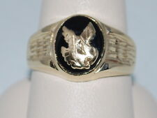 10k Gold Ring with an Eagle on Onyx