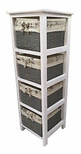 Maize Baskets Unit White Wooden Slim 4 Drawer Cabinet Storage Organiser Bathroom