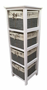 Maize Baskets Unit White Wooden Slim 4 Drawer Cabinet Storage Organiser Bathroom