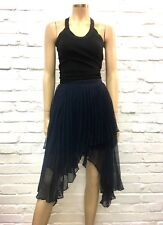Keepsake Stunning 100% Silk Pleated Navy Skirt Graduated Hem Size S