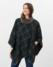 Joules Womens Jillian Tweed Cape With Velvet - Navy Green Check - One Size