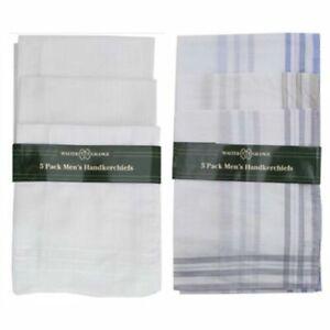 Pack of 5 Large Mens Hankies Handkerchiefs Hanky White Plain Or Borders Cotton