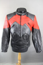 AMAZING J&S BLACK, RED & SILVER LEATHER BIKER JACKET WITH BACK PROTECTOR 38 INCH