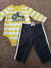 Baby boy outfit size 3 Months, Yellow Bodysuit, Motorcycle Shirt Gray Pants
