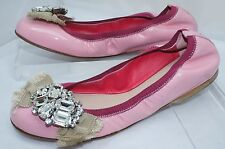 New Miu Miu Women's Shoes Pink Flats Size 36 Vernice 12 Ballet Leather